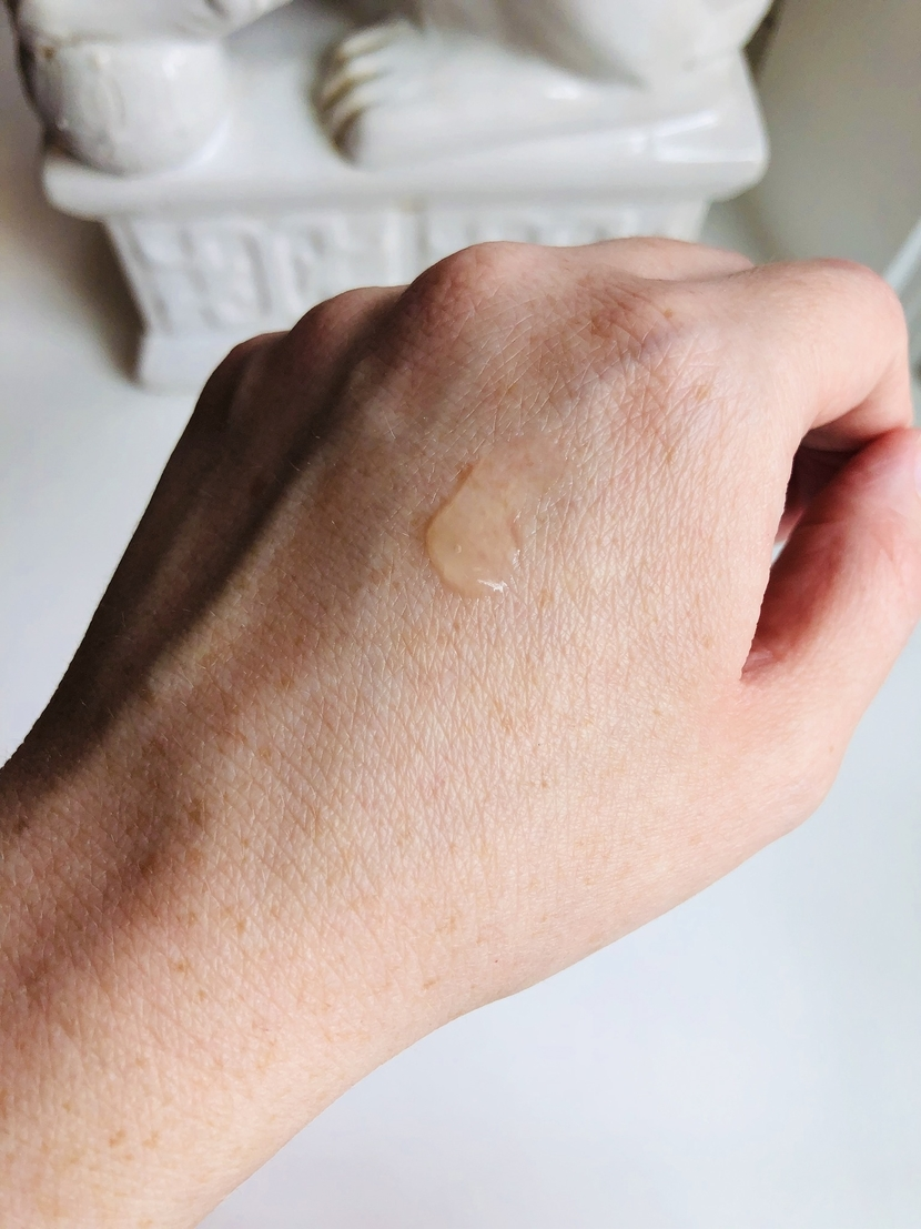 Swatch of Supergoop Unseen Sunscreen on back of my hand