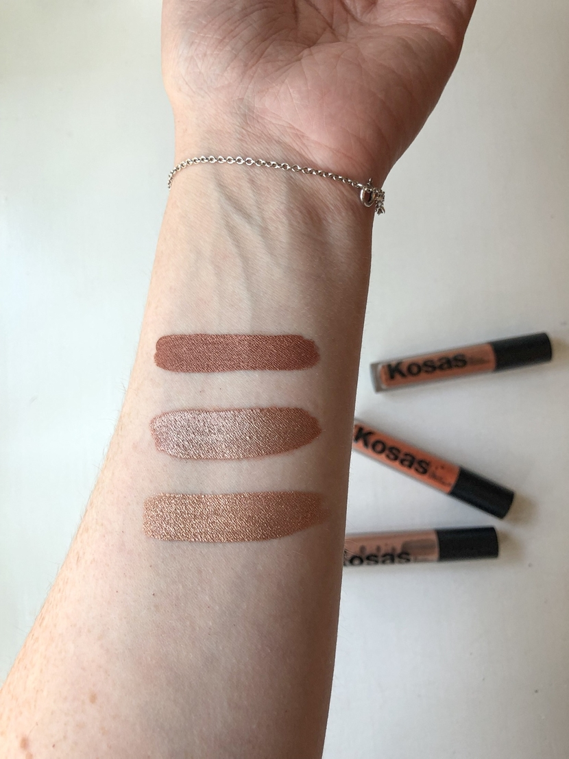 Swatches of the Kosas 10 Second Eyeshadows in Element, Copper Halo & Globe (top to bottom)