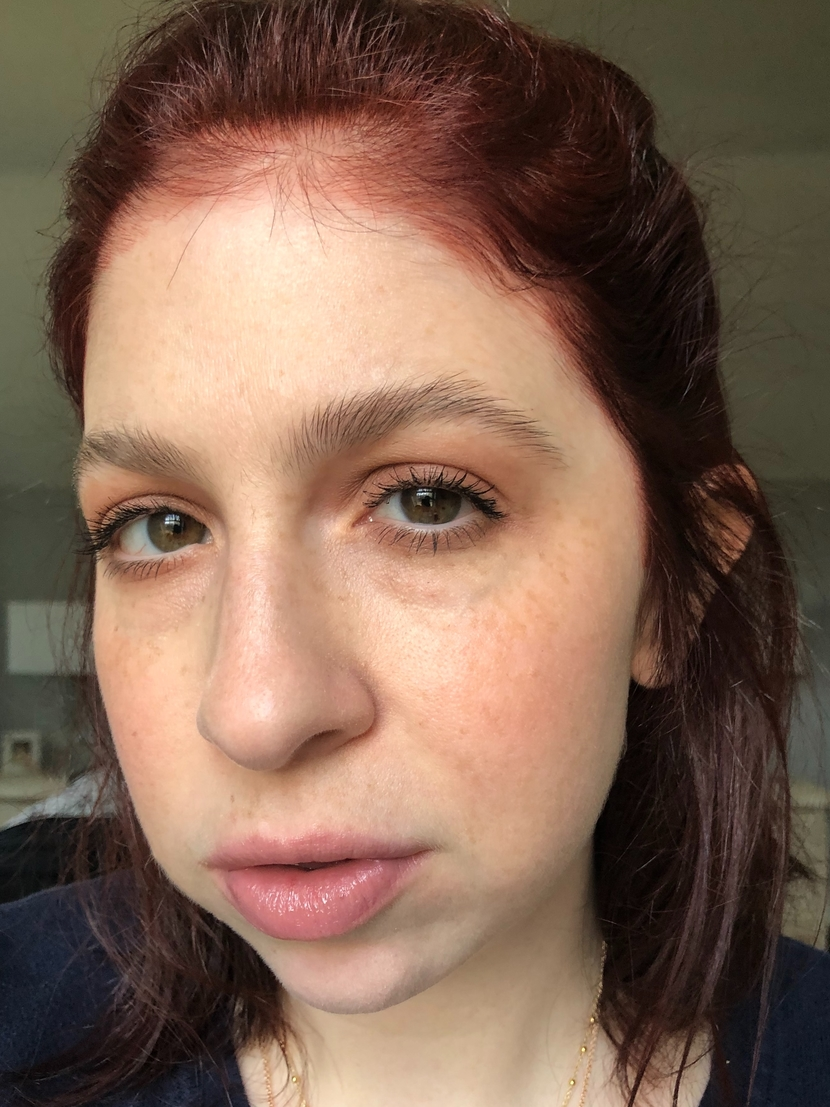 Bobbi Brown Lipstick in Brownie blended across my cheeks, used as blush