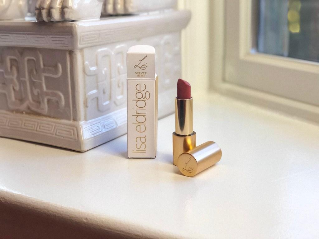 Lisa Eldridge Velvet Muse Lipstick posed with outer box