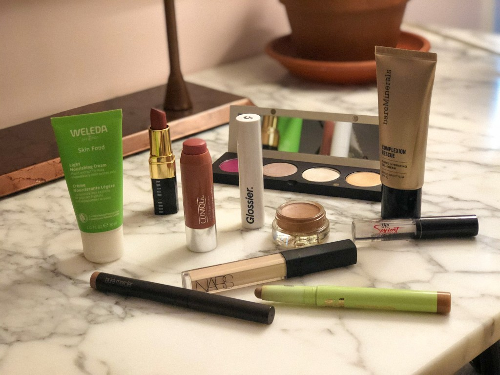 Flatlay with fresh barely-there makeup products