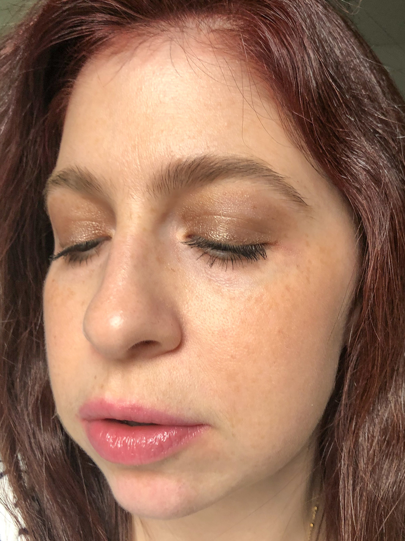 Wearing a L'Oreal cream-to-powder eyeshadow