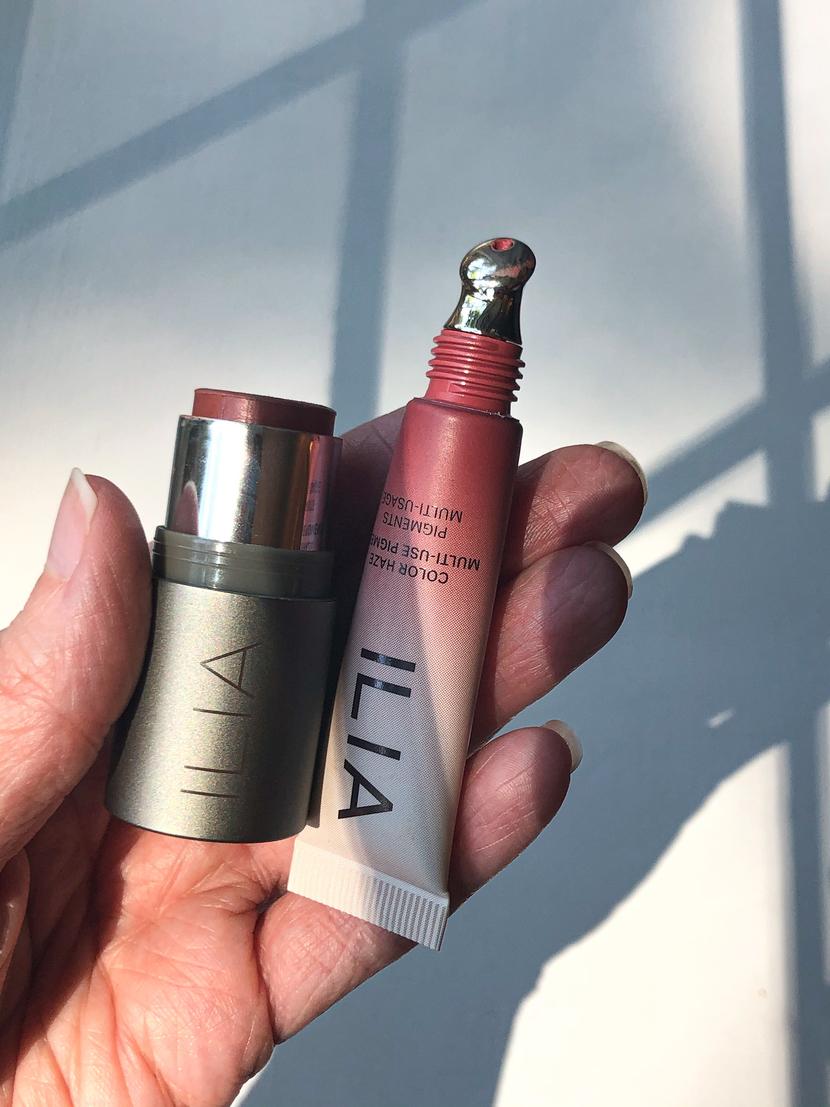 From left to right: ILIA Multi-Stick in Ladybird, ILIA Color Haze Multi-Use Pigment in Temptation