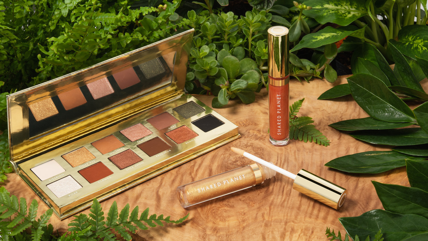 The Tiger Collection from Shared Planet, featuring an eyeshadow palette and two lip glosses