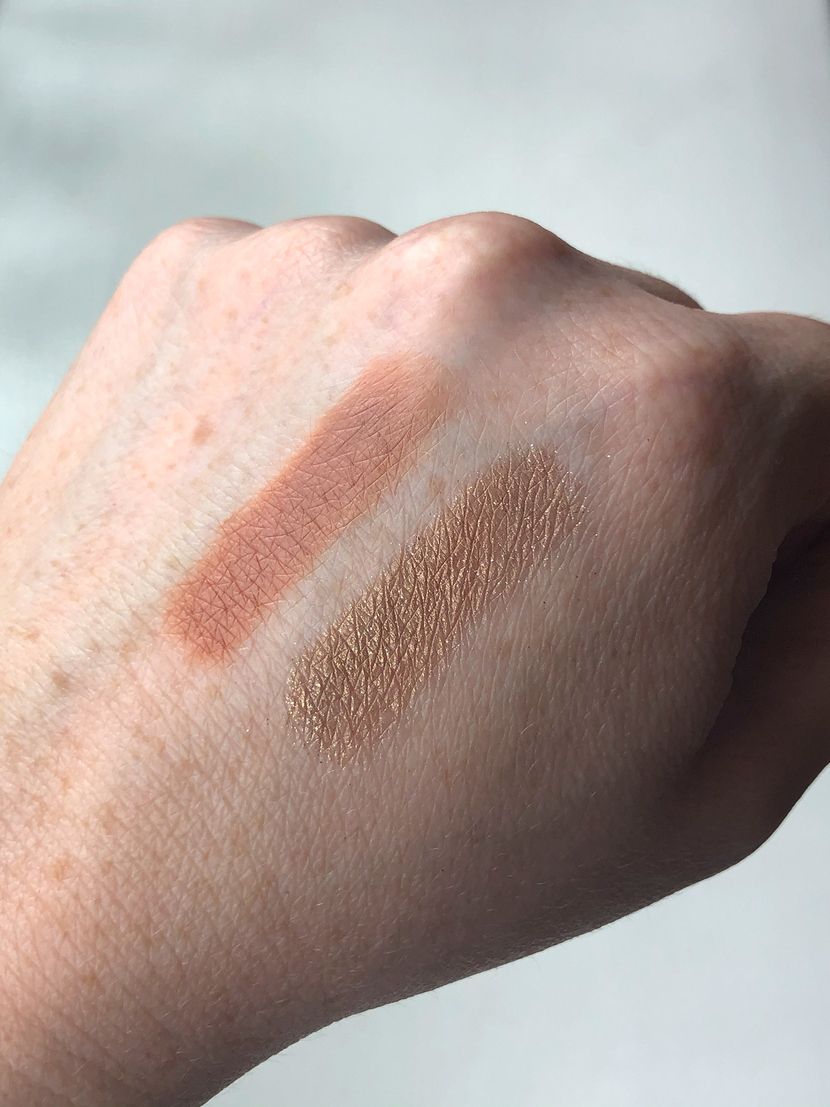 Swatches of the Color Strike Eyeshadow Pens from Maybelline. Left- Chase, Right - Hustle