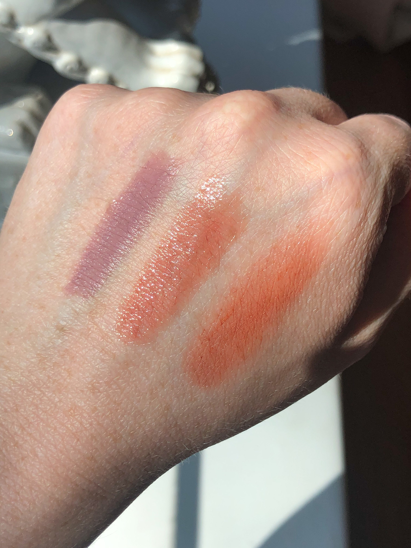 Swatches from left to right: ELF Matte Lip Color in Tea Rose, Revlon Ultra HD Gel Lip Color in HD Sand, Glossier Generation G Lipstick in Cake.