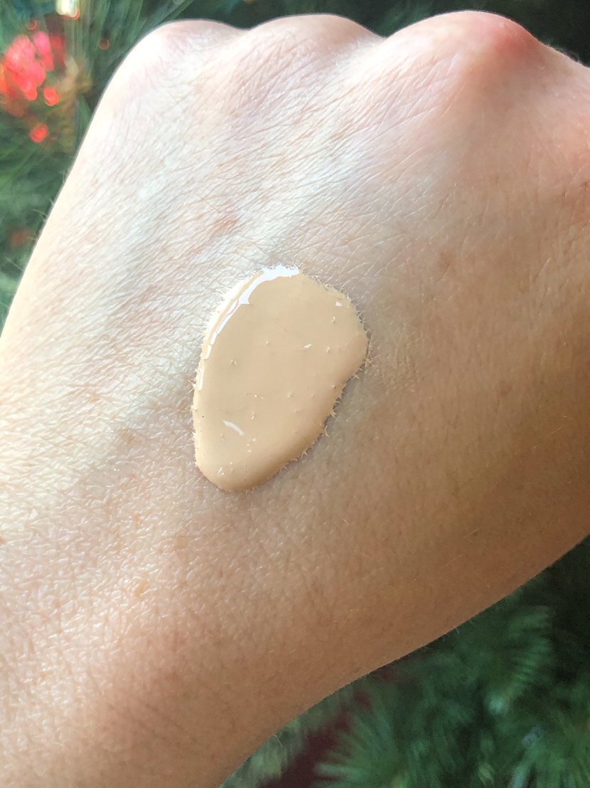 Swatch of an affordable liquid foundation from Flower Beauty