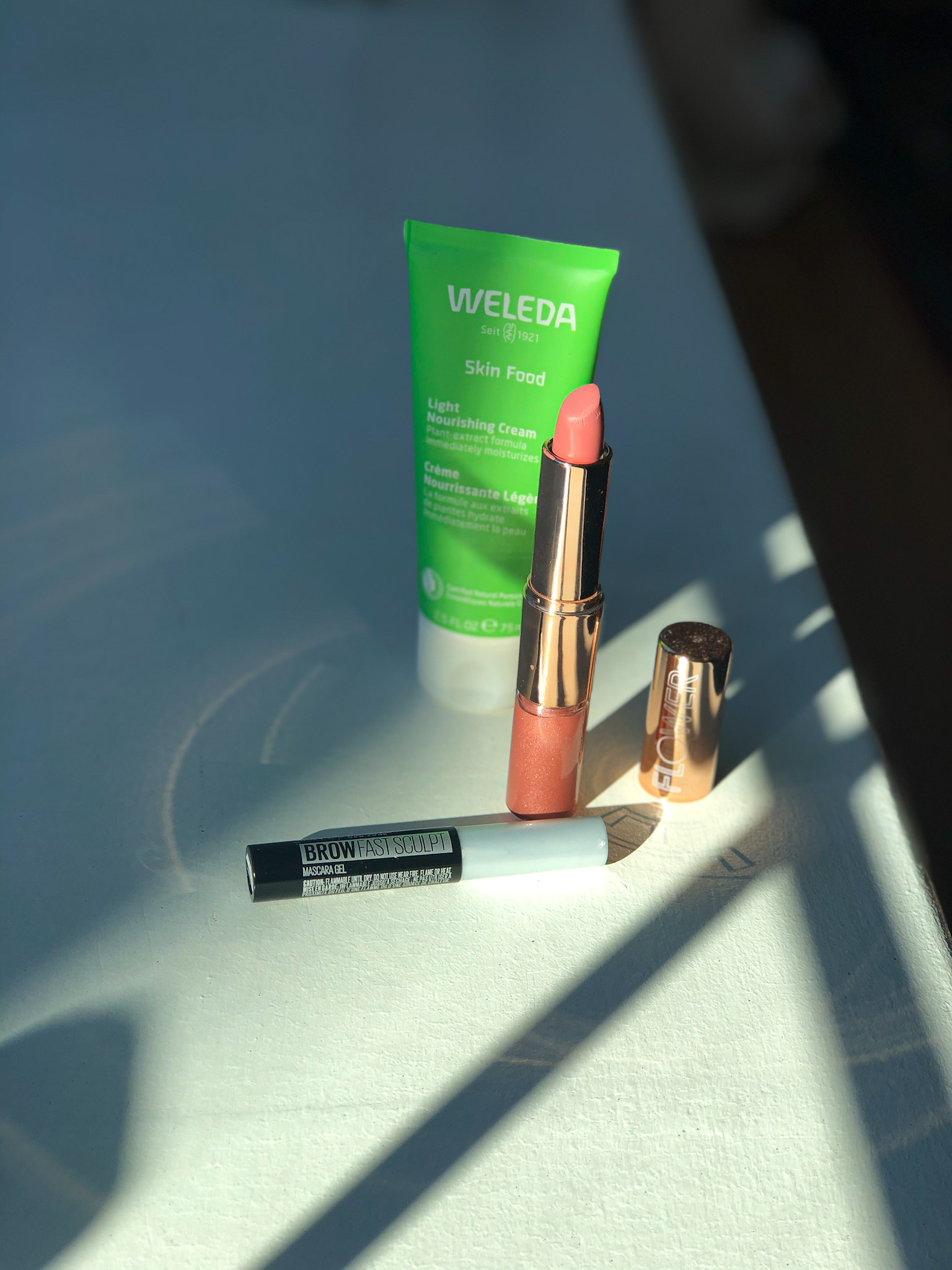 My most used beauty products featuring Weleda, Maybelline & Flower Beauty