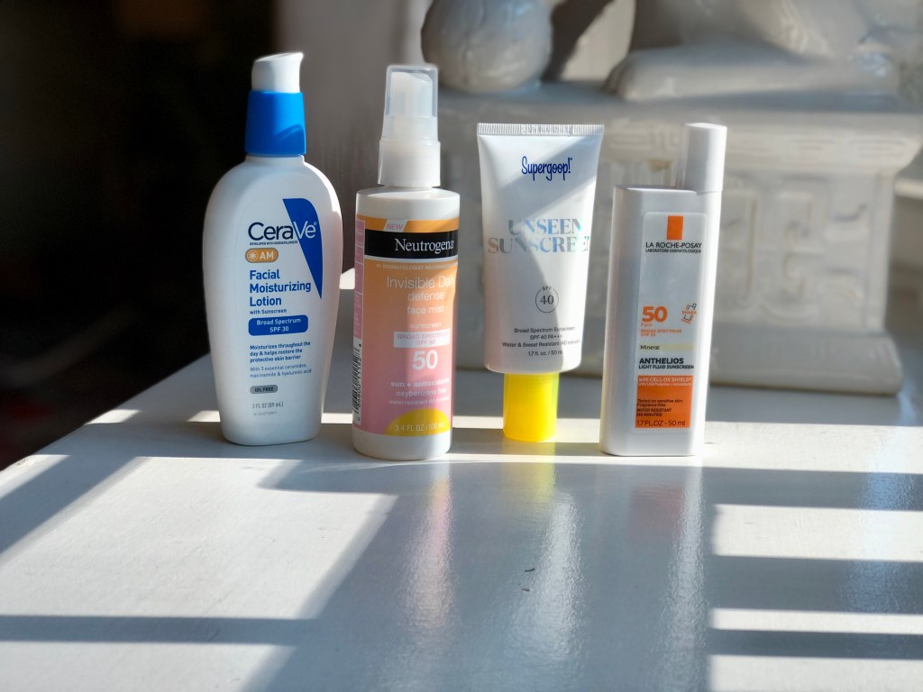 My current SPF collection, featuring CeraVe, Neutrogena, Supergoop & La Roche Posay