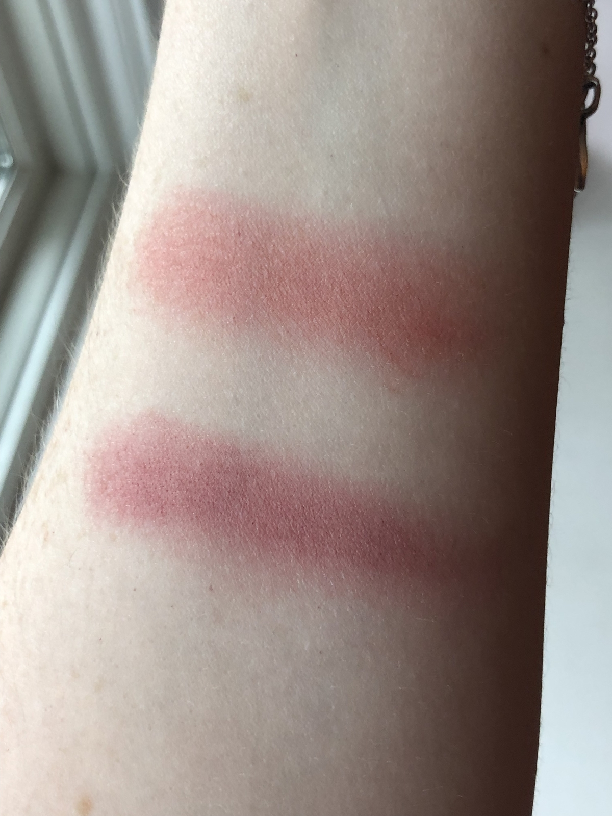 Cream blush swatches: from top to bottom, Scarlet & Orchid