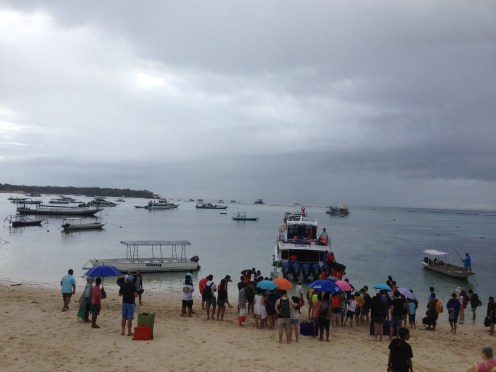 Boarding our speedboat