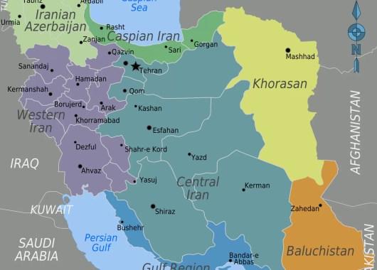 Mappa dell'Iran e dei suoi confini