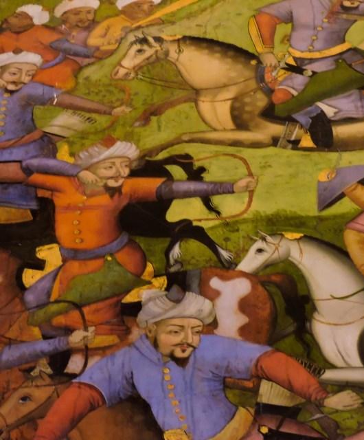 Un dettaglio di un affresco del palazzo Chehel Sotoun a Esfahan. Il palazzo Chehel Sotoun è tra i 9 Giardini iraniani che sono registrati come uno dei 17 siti UNESCO patrimonio dell'Iran sotto il nome di giardino persiano. L'affresco raffigura Ismail I mentre sconfigge il re uzbeko