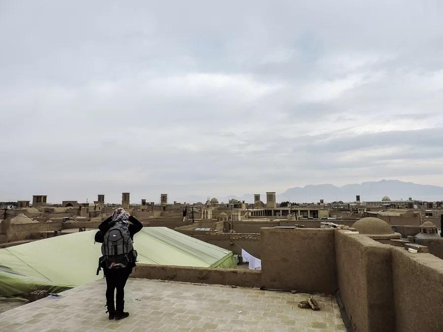 Yazd Old Town vista dal tetto di uno dei suoi edifici