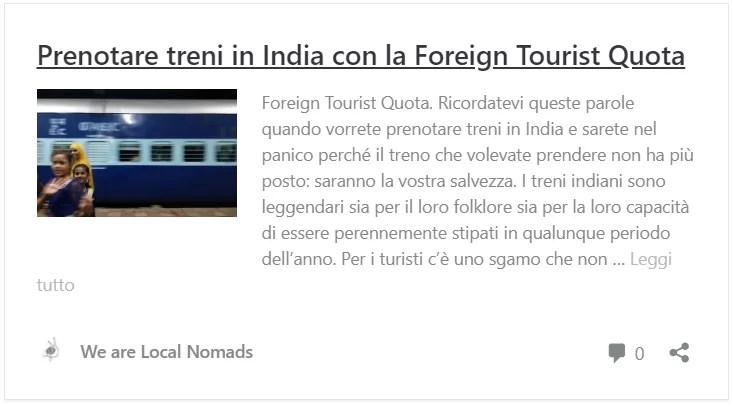 clicca se vuoi sapere come prenotare la Foreign Tourist Quota