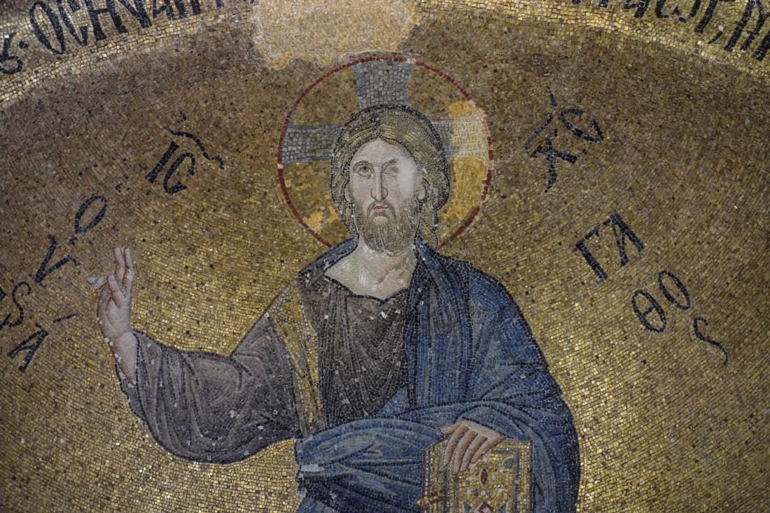 Mosaico conservato all'interno della moschea Fethiye (una volta chiesa ortodossa del Theotokos Pammakaristos) a Balat