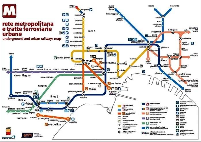 La mappa della metro di Napoli