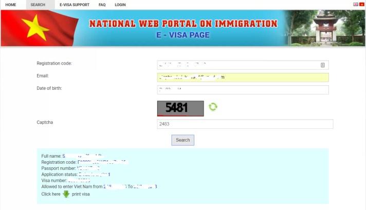 i risultati del vostro visto per il vietnam elettronico (e-visa) sono scritti in questa pagina nel campo Application Status