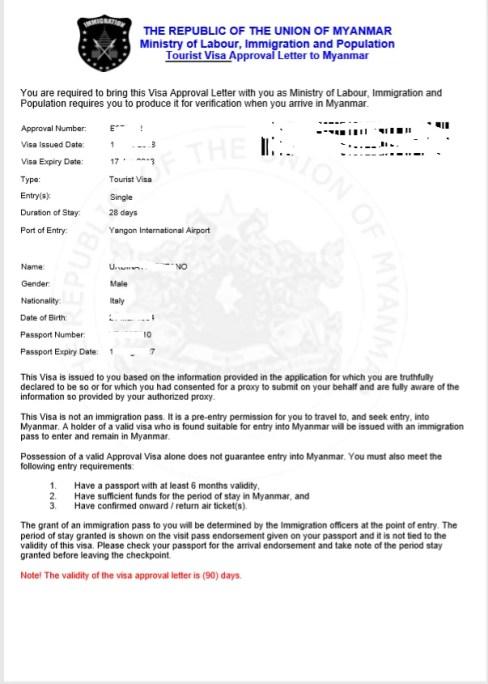 la lettera di approvazione da consegnare alla frontiera per il visto per il Myanmar elettronico turistico (evisa)