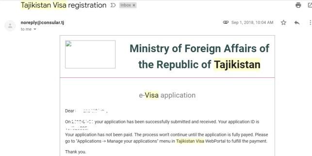 la mail di conferma per il visto elettronico per il Tajikistan contiene l'application ID per richiamare la pratica