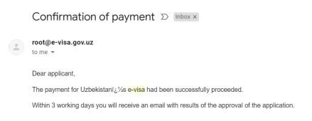 conferma di avvenuto pagamento del visto elettronico Uzbekistan