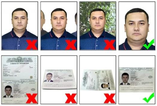 la fototessera deve avere il visto centrato e lo sfondo bianco. la pagina dei dati del passaporto deve essere centrata e frontale