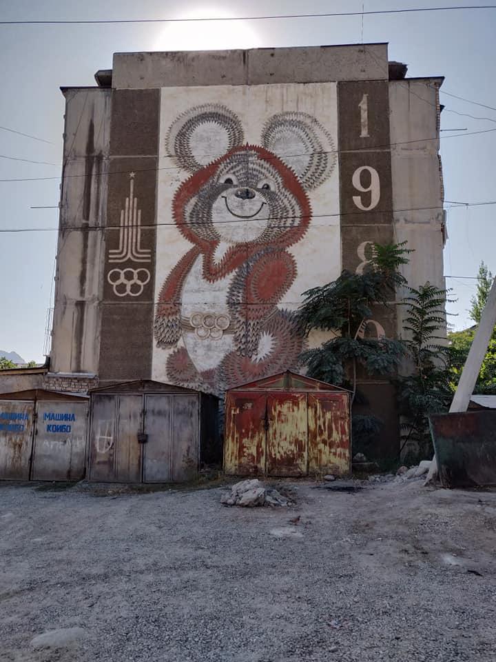 Murales a Osh, questo dedicato alle olimpiadi di Mosca del 1980