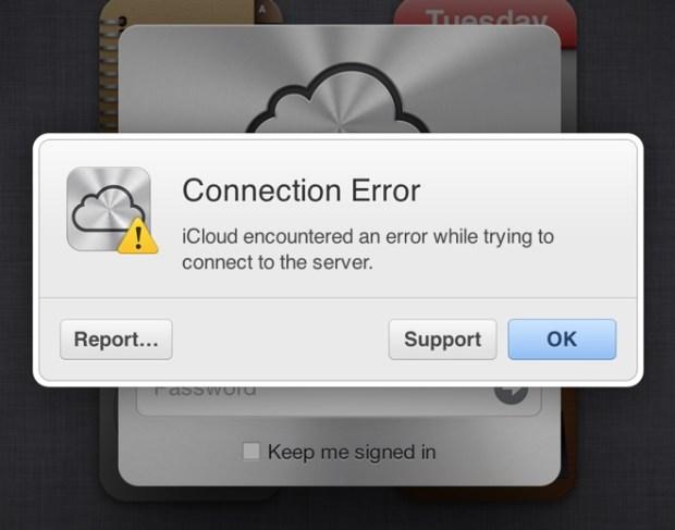 message erreur accès service iCloud