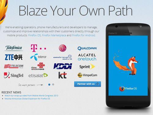 partenaires Mozilla pour développer smartphone FireFox OS