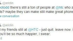 Message Twitter Eric Lin ancien Product Strategy Manager chez HTC encourageant ses amis chez HTC à partir