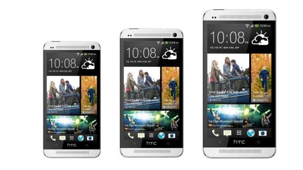 de gauche à droite HTC One Mini, le One et le One Max
