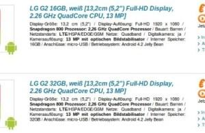 Le prix du LG G2 affiché pour l'Europe
