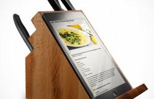 support tablettes et iPad de cuisine conçu par Victorinox