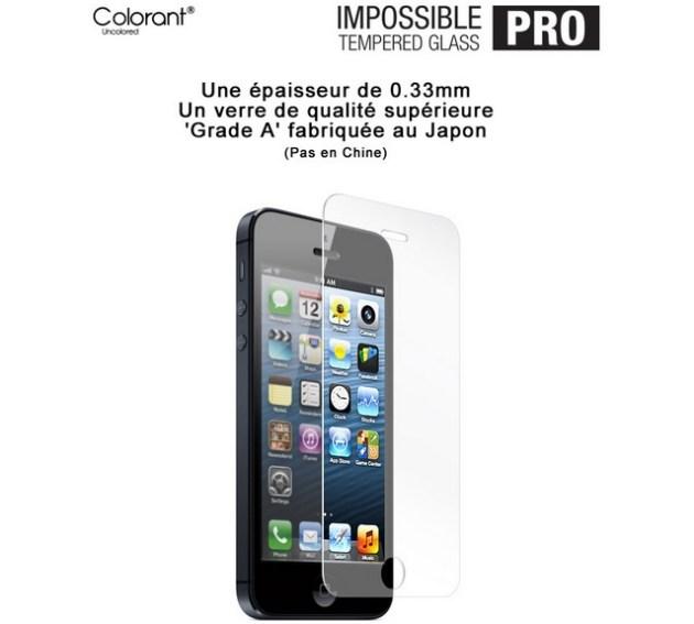 protection en verre trempé pour protéger l'écran iPhone 5S et iPhone 5C