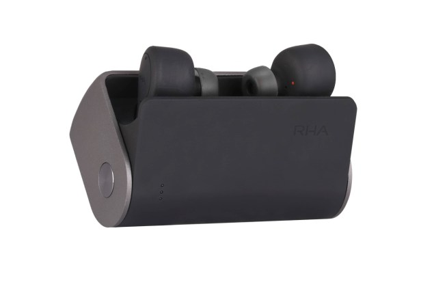 RHA_TrueConnect_charging_case_open_with_earphones_angled