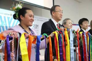 """Inangaro with UN-General Secretary Ban Ki-moon at the World Conference on Disaster Risk Reduction. """"We are the human face of this man-made disaster"""""""