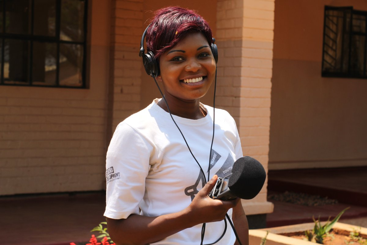 """The radio station that we are working with is one of the biggest in Kabwe… so it is the easiest way of reaching a large number of people. Once people have knowledge about rape and the psychological effects it has a young person or a victim, they will get to know how they can find help from the hospital, and how they can quickly report it and get support. Now that I'm involved with Restless I have been learning throughout and I'm still learning. It has really changed me."" Purity, 20, community journalist. (PC Restless Development/ Gemma Munday)"