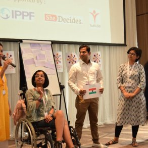 Angelin speaking at the ICPD youth conssultation