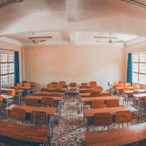 An empty classroom in an education institution