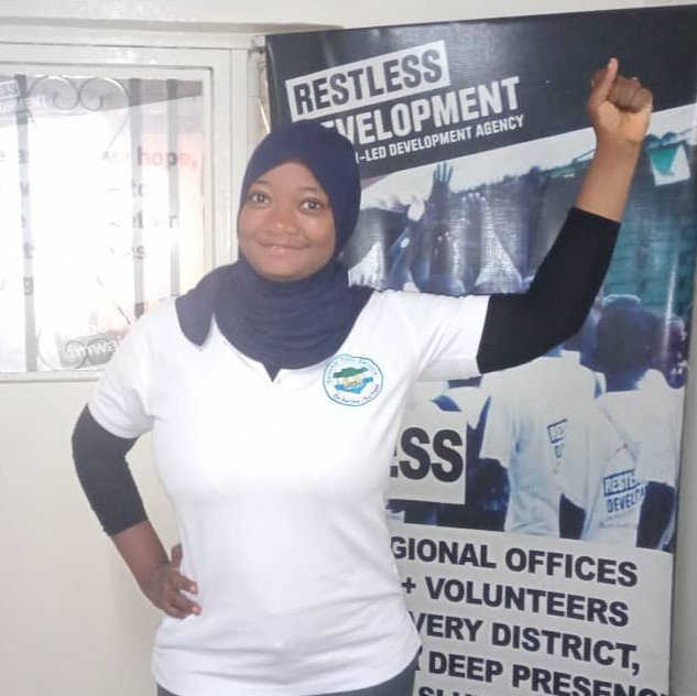 A picture of Abigail Kamara at the Restless Development office.