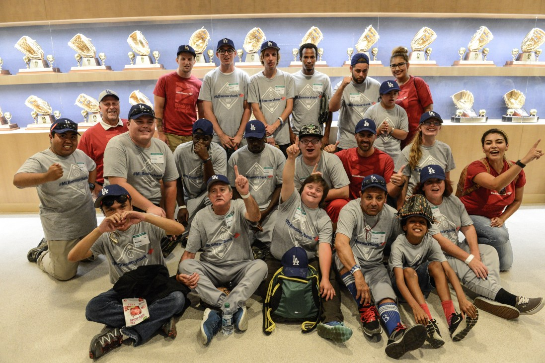 2017 #MLBMemoryBank Day (surprise with Joc Pederson and brother Champ) at Dodgers Stadium with Special Olympics Southern California Athletes - Lakewood Dirtbags softball team - July 28, 2017