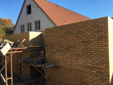 Completion of exterior brick on new addition - will be painted at the end of the project.