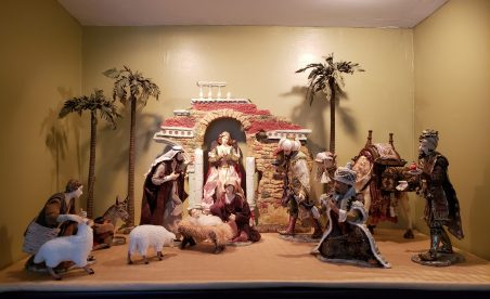This is our indoor creche. This nativity was given to me as a birthday gift by my hubby and it's about the best gift ever! Nancy and Bill C.