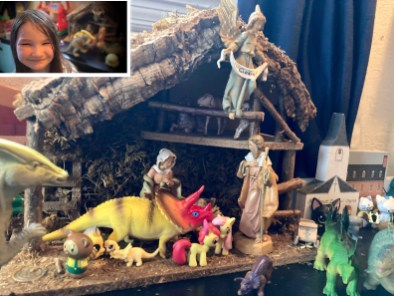 The core of this nativity was a wedding present from my college roommate, and the girls have added their own creatures. Samara rearranges it most every evening. Sarah T.