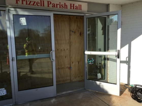 Installation of new parish hall doors. An accessible control panel will be added.