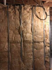 Insulation in interior bathroom walls.