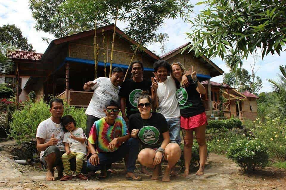 Meeting friendly people in the village as we travel Sumatra