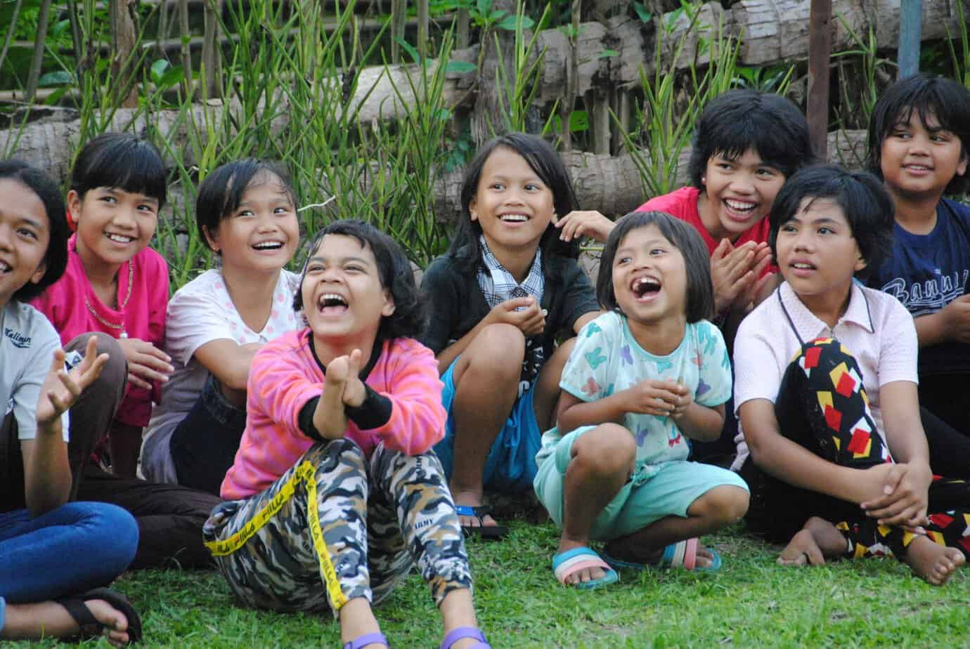 Laughing children in Sumatra, Indonesia