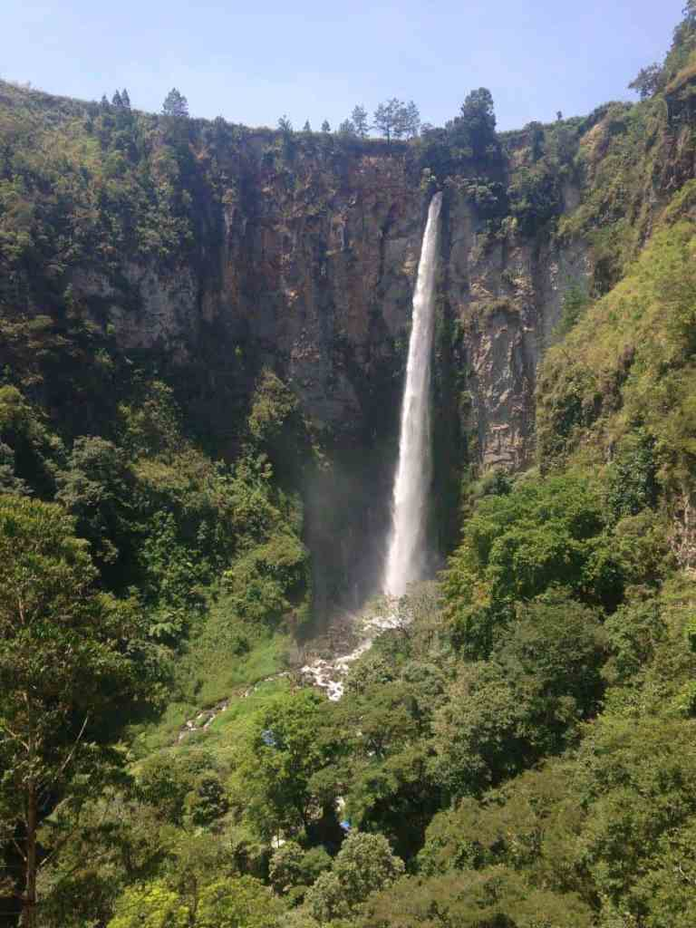 Sipisopiso Waterfall in Lake Toba