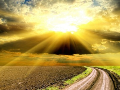 Sunbeams over a field with track
